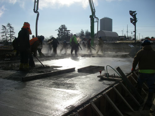 Concrete work at industrial site