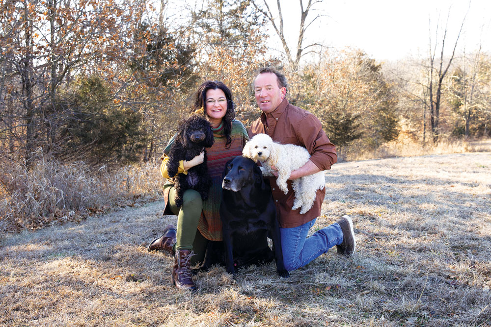 Mark and Wendy Hall and their dogs