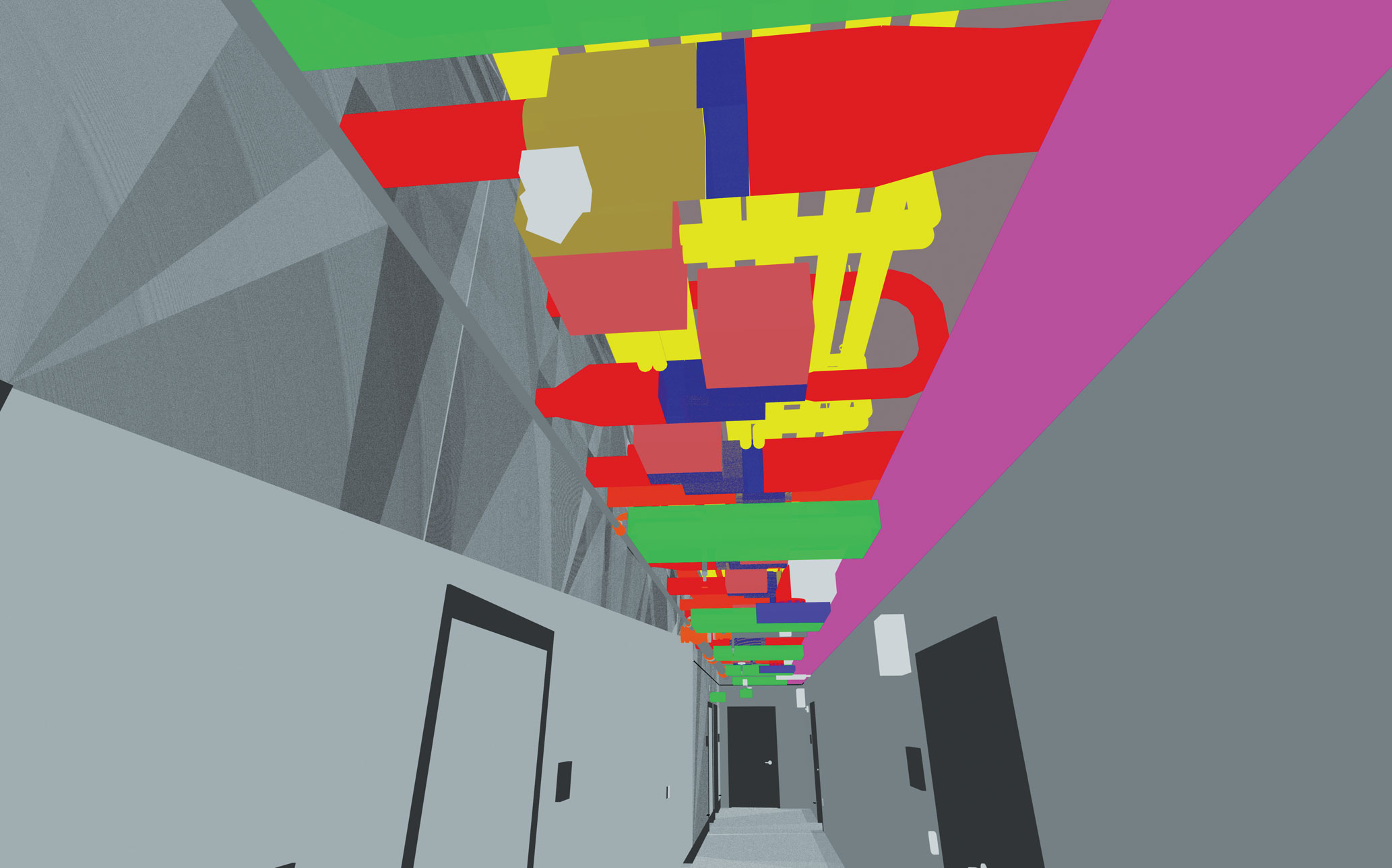 A 3D rendering of ceiling head space for MEPT systems.